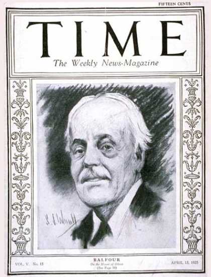 Time - Lord Arthur Balfour - Apr. 13, 1925 - Great Britain