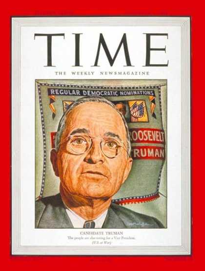 Time - Harry S. Truman - Nov. 6, 1944 - Vice Presidents - Politics