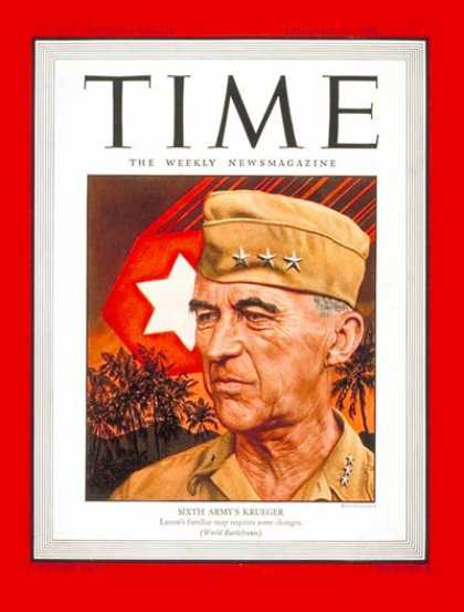 Time - General Walker Krueger - Jan. 29, 1945 - World War II - Military - Army - Genera