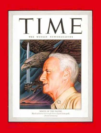 Time - Adm. Chester Nimitz - Feb. 26, 1945 - Admirals - Navy - World War II - Military