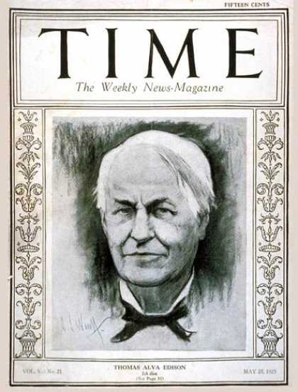 Time - Thomas A. Edison - May 25, 1925 - Inventions - Innovation - Science & Technology