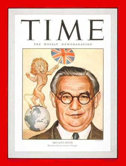 Time - Ernest Bevin - Feb. 18, 1946 - Great Britain - Labor Unions