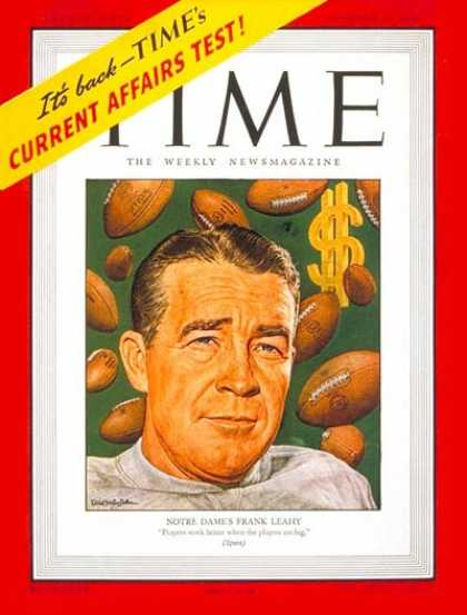 Time - Frank Leahy - Oct. 14, 1946 - Football - Notre Dame - Sports