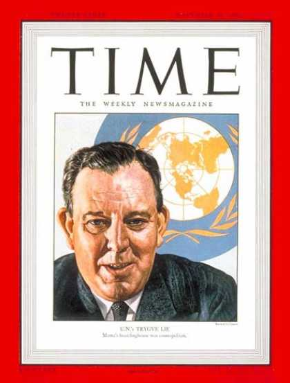 Time - Trygve Lie - Nov. 25, 1946 - Norway - United Nations