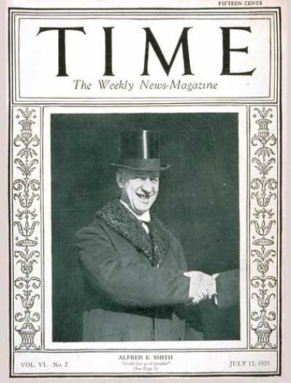 Time - Governor Alfred E. Smith - July 13, 1925 - Governors - New York - Politics