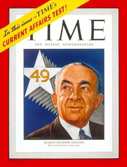 Time - Gov. Ernest Gruening - June 16, 1947 - Governors - Alaska - Politics