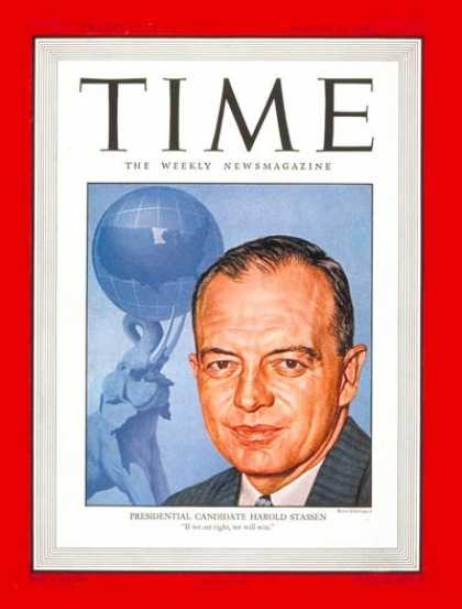 Time - Harold Stassen - Aug. 25, 1947 - Politics - Presidential Elections - Republicans