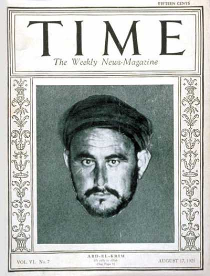 Time - Abd-el-Krim - Aug. 17, 1925 - Morocco - Africa - Military