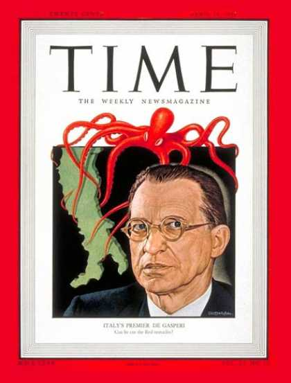 Time - Alcide de Gasperi - Apr. 19, 1948 - Italy - Prime Ministers - World War II