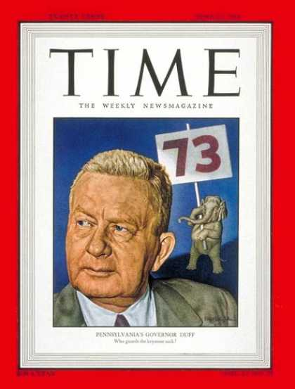 Time - Gov. James H. Duff - June 21, 1948 - Governors - Politics
