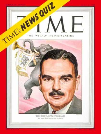 Time - Thomas E. Dewey - July 5, 1948 - Thomas Dewey - Politics - Presidential Election