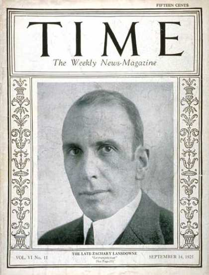 Time - Zachary Lansdowne - Sep. 14, 1925 - World War I - Navy - Military