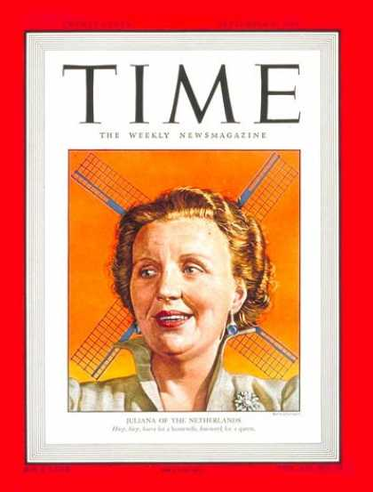 Time - Queen Juliana - Sep. 6, 1948 - Netherlands - Royalty - Women