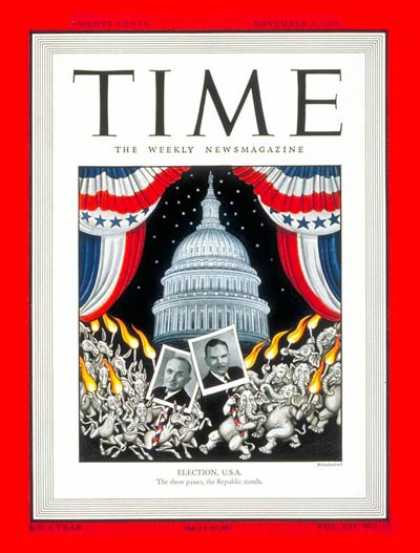Time - Election, U.S.A - Nov. 1, 1948 - Harry S. Truman - Thomas Dewey - Presidential E