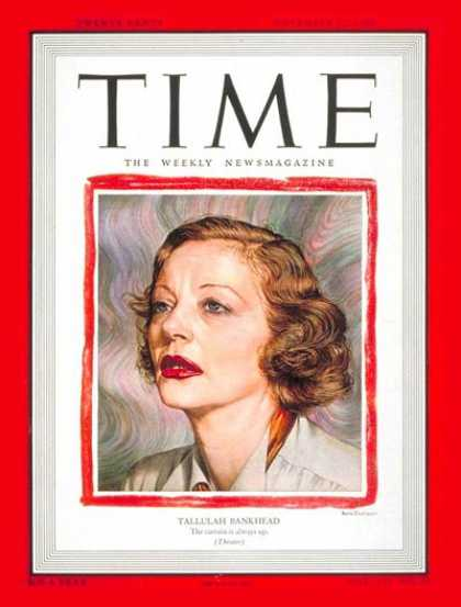 Time - Tallulah Bankhead - Nov. 22, 1948 - Actresses - Theater - Broadway