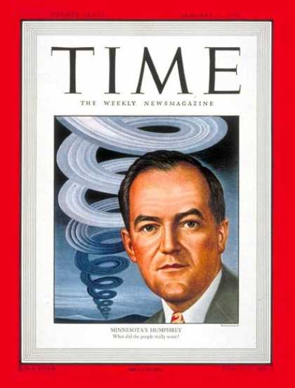 Time - Sen. Hubert Humphrey - Jan. 17, 1949 - Hubert Humphrey - Congress - Senators - M