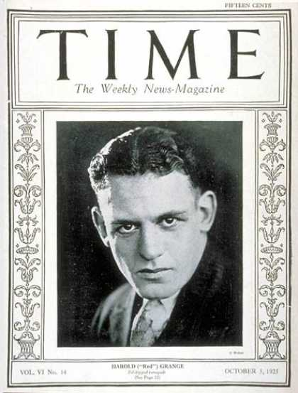 Time - Red Grange - Oct. 5, 1925 - Football - Sports