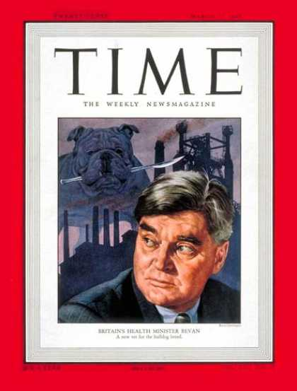 Time - Aneurin Bevin - Mar. 21, 1949 - Great Britain - Health & Medicine