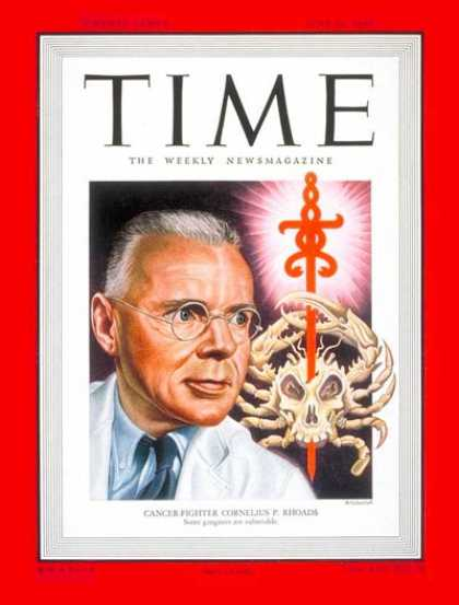 Time - Cornelius P. Rhodes - June 27, 1949 - Cancer - Health & Medicine
