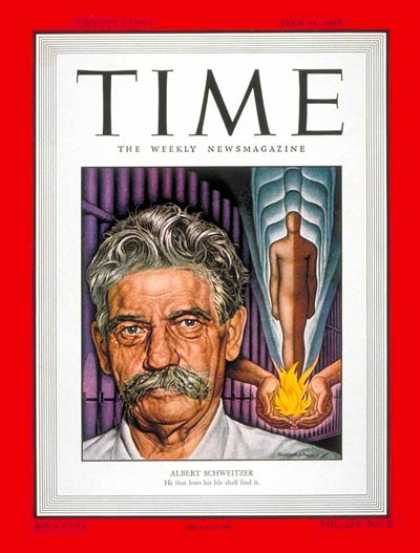 Time - Albert Schweitzer - July 11, 1949 - Religion - Africa - Humanitarian Assistance