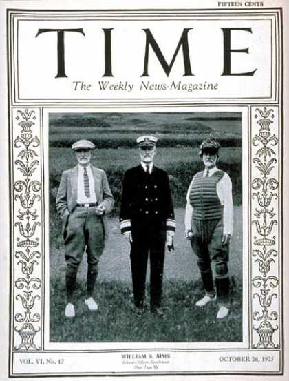 Time - Admiral William Sims - Oct. 26, 1925 - Admirals - World War I - Navy - Military