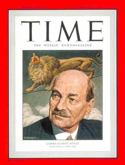 Time - Clement R. Attlee - Feb. 6, 1950 - Clement Attlee - Great Britain - Politics