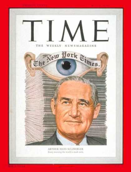 Time - Arthur H. Sulzberger - May 8, 1950 - Arthur Sulzberger - Journalism - Newspapers