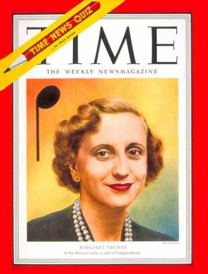 Time - Margaret Truman - Feb. 26, 1951 - First Families - Music - Singers