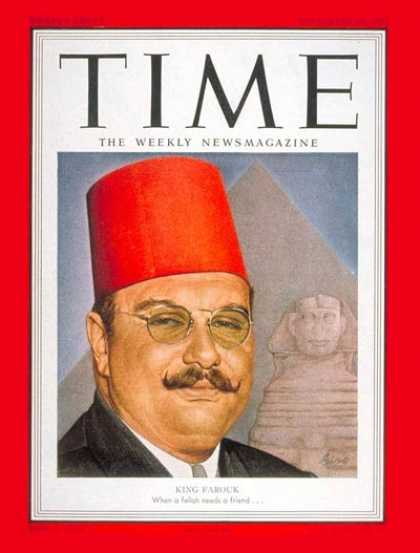 Time - King Farouk I - Sep. 10, 1951 - Royalty - Egypt - Middle East