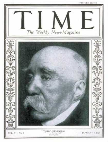Time - Georges Clemenceau - Jan. 4, 1926 - France - Health & Medicine