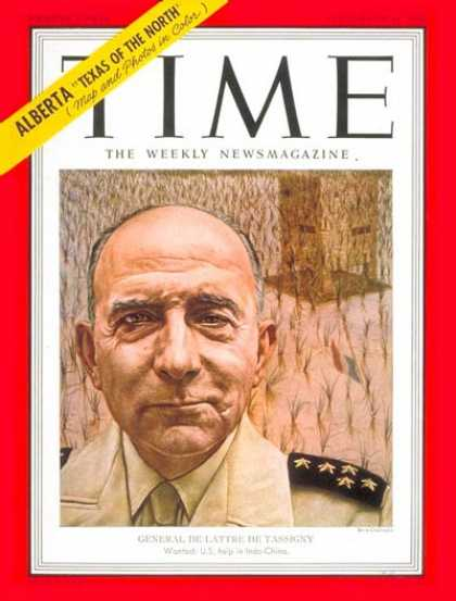 Time - General Jean de Tassigny - Sep. 24, 1951 - France - Military - Army - Generals