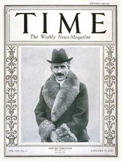 Time - Arturo Toscanini - Jan. 25, 1926 - Conductors - Classical Music - Music