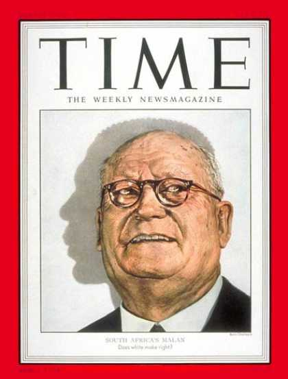 Time - Daniel F. Malan - May 5, 1952 - South Africa - Prime Ministers - Apartheid - Afr