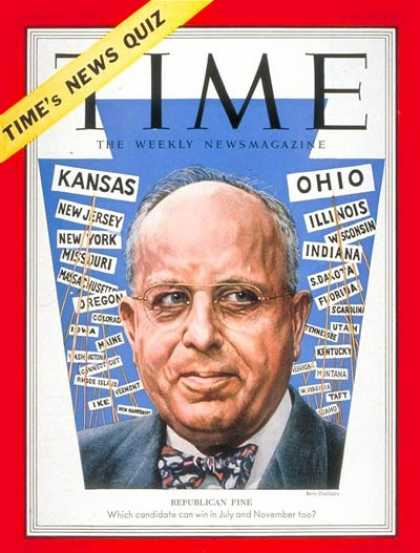 Time - John S. Fine - June 30, 1952 - Republicans - Politics