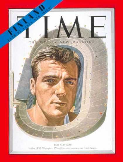 Time - Bob Mathias - July 21, 1952 - Olympics - Track & Field - Sports