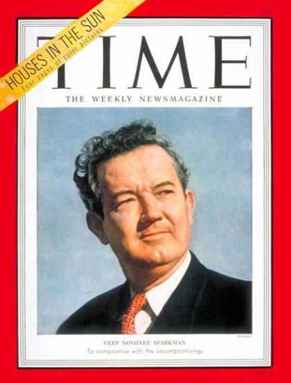 Time - John J. Sparkman - Aug. 11, 1952 - Congress - Senators - Alabama - Politics