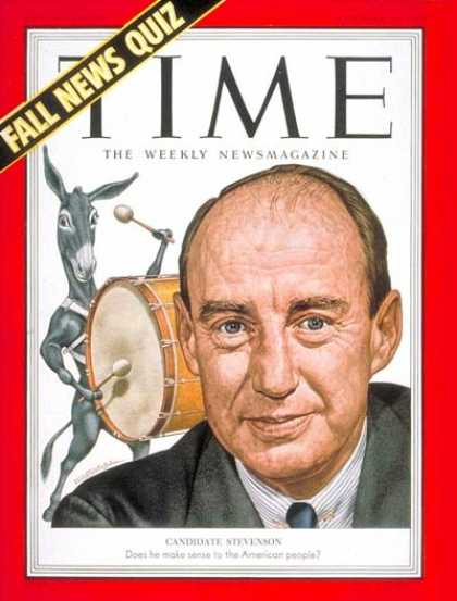 Time - Adlai Stevenson - Oct. 27, 1952 - Governors - Illinois - Democrats - Presidentia