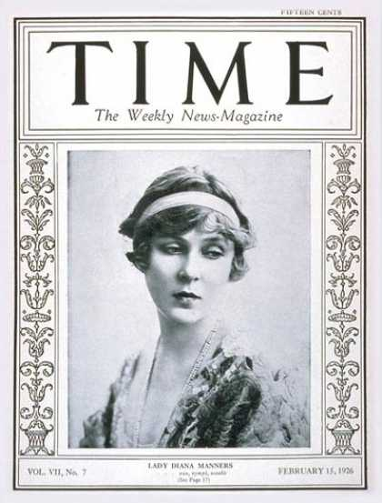 Time - Lady Diana Manners - Feb. 15, 1926 - Royalty - Great Britain