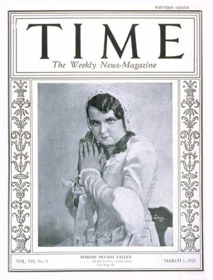 Time - Marion N. Talley - Mar. 1, 1926 - Women