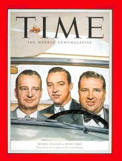 Time - William, Benson and Henry Ford - May 18, 1953 - William Ford - Henry Ford - Cars