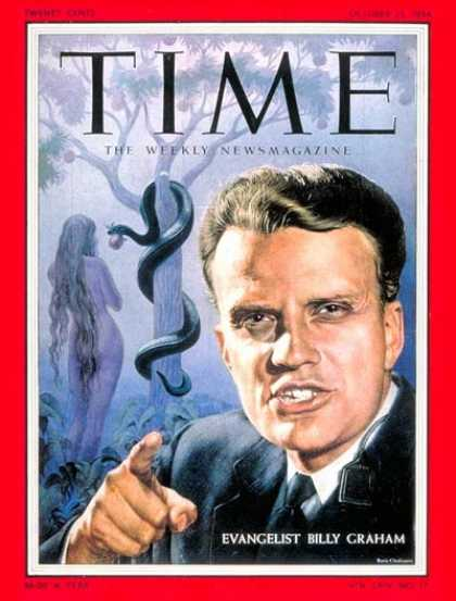 Time - Billy Graham - Oct. 25, 1954 - Evangelicals - Christianity - Religion - Most Pop