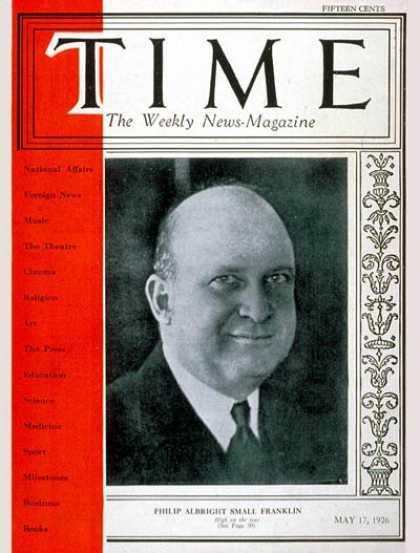 Time - Philip A.S. Franklin - May 17, 1926 - Politics
