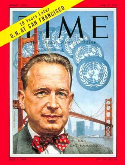 Time - Dag Hammarskjold - June 27, 1955 - United Nations - Sweden