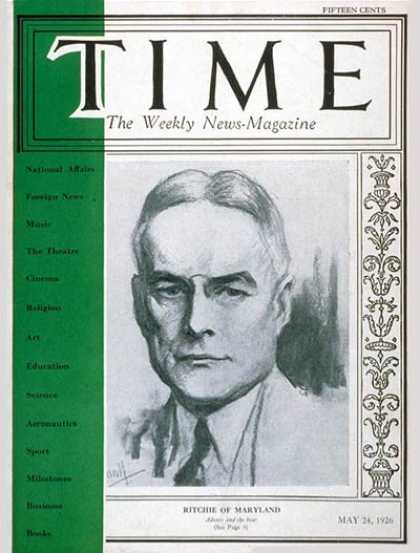 Time - Albert C. Ritchie - May 24, 1926 - Politics