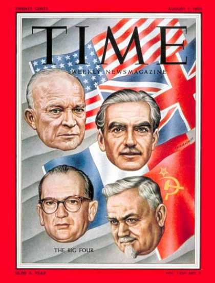 Time - Big Four at Geneva - Aug. 1, 1955 - Dwight Eisenhower - Anthony Eden - Politics