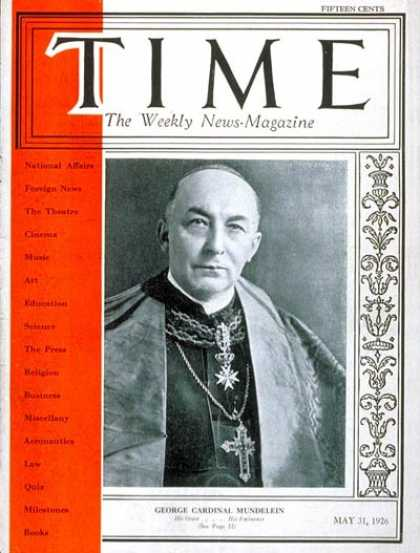 Time - Cardinal Mundelein - May 31, 1926 - Religion - Christianity - Cardinals