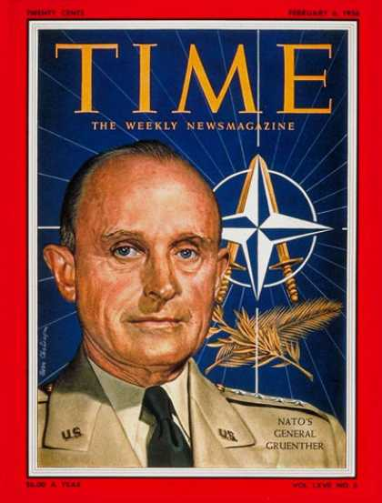 Time - General Alfred Gruenther - Feb. 6, 1956 - NATO - Generals - Military
