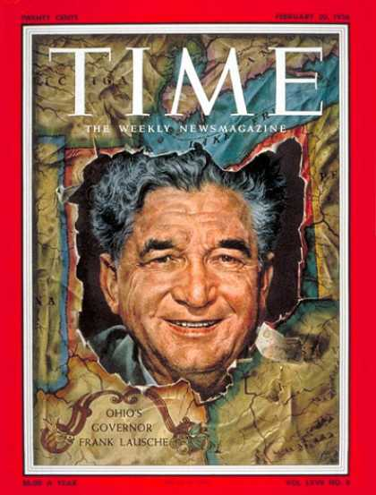 Time - Gov. Frank Lausche - Feb. 20, 1956 - Governors - Politics