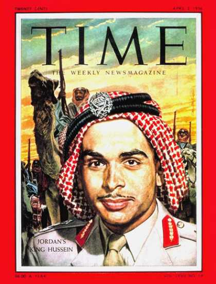 Time - King Hussein - Apr. 2, 1956 - Royalty - Jordan
