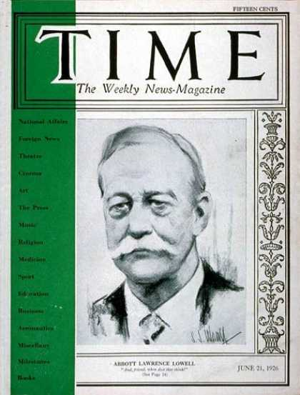 Time - A. Lawrence Lowell - June 21, 1926 - Education - Books - Politics